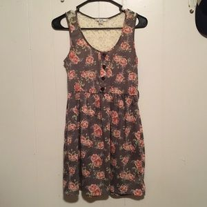 Papaya floral dress with buttons and lace, medium